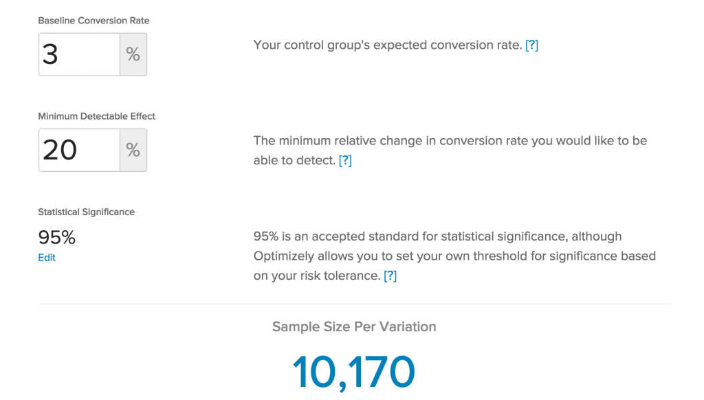 Optimizely – Sample Size Calculator