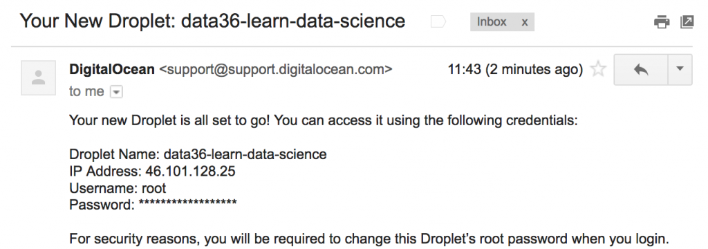 data coding email from digital ocean