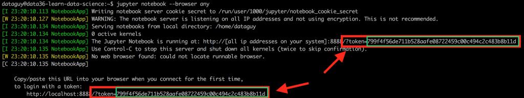 data coding jupyter token command line