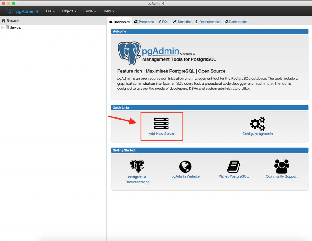 data coding pgadmin add server