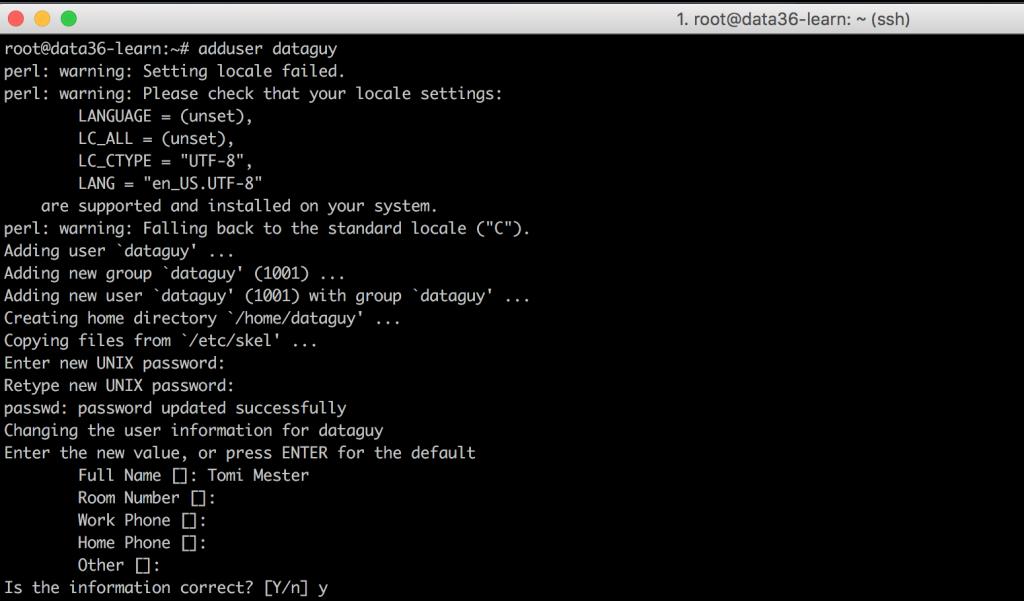 data coding terminal create new user