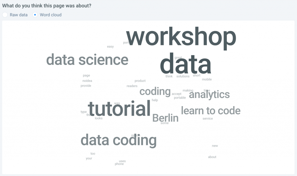 five second testing results wordcloud