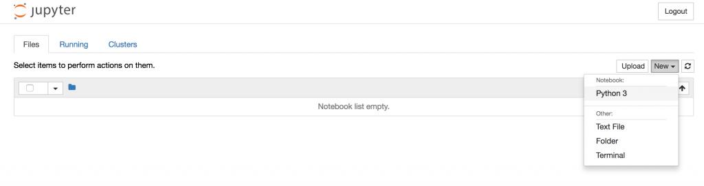 jupyter notebook create a new python3 notebook