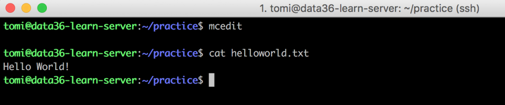 command line bash helloworld cat