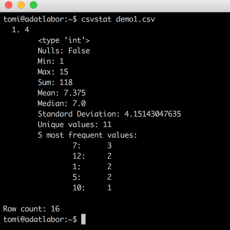 data coding command line bash best practice csvstat