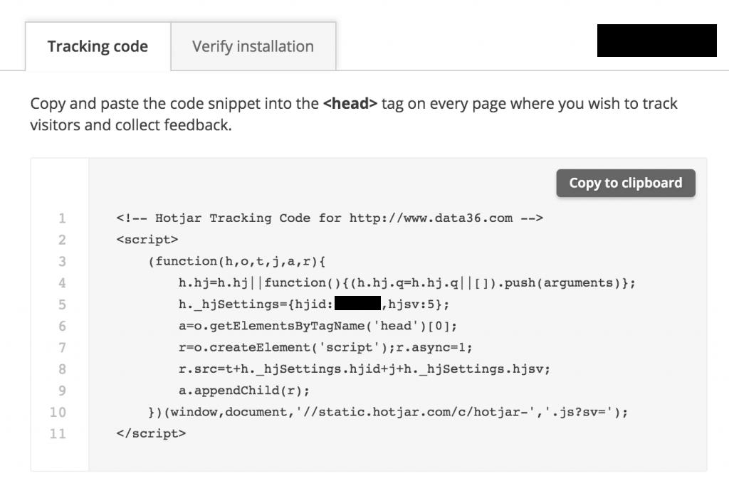 website heatmaps - Hotjar example - tracking code