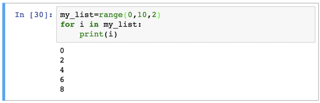 8 - Python For Loops range example