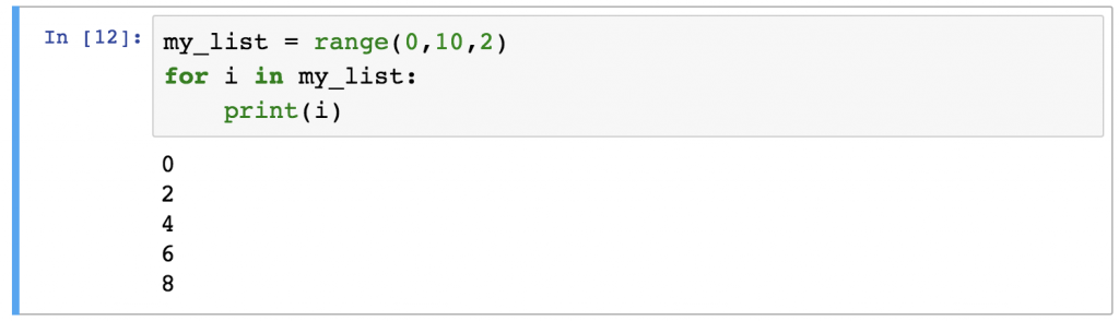 Python For Loops range example