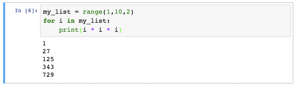 Python For Loops range example 2