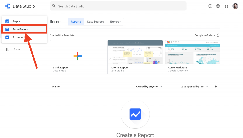 connect Google Data Studio to PostgreSQL -- add new data source