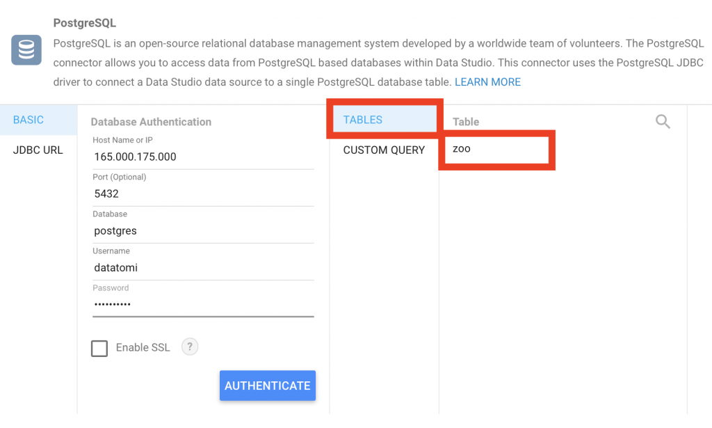 connect Google Data Studio to PostgreSQL -- authenticate TABLES