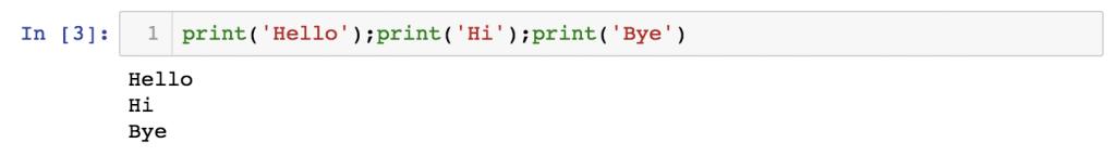 python syntax essentials - multiple statements in a line