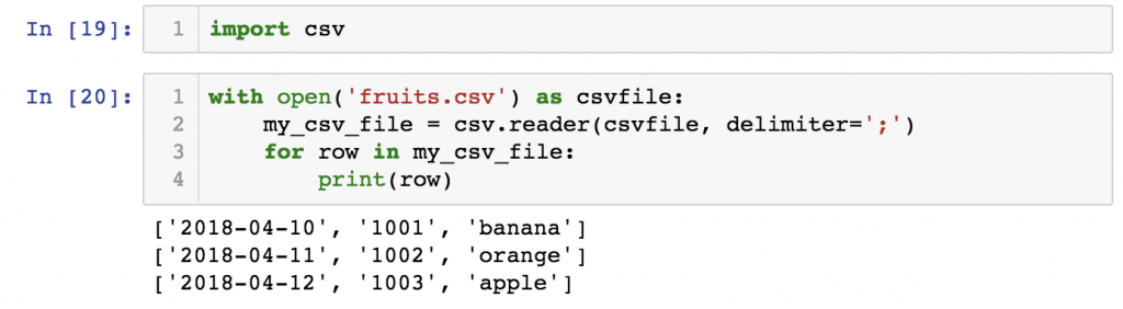 python import statement and built-in modules - csv