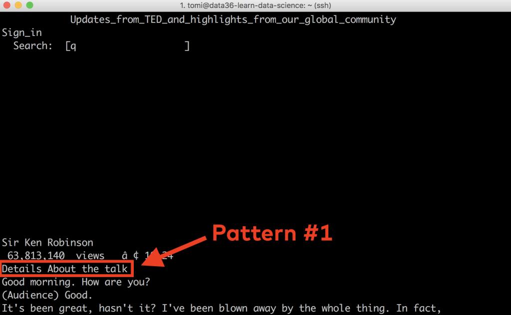web scraping tutorial 11 - sed pattern1