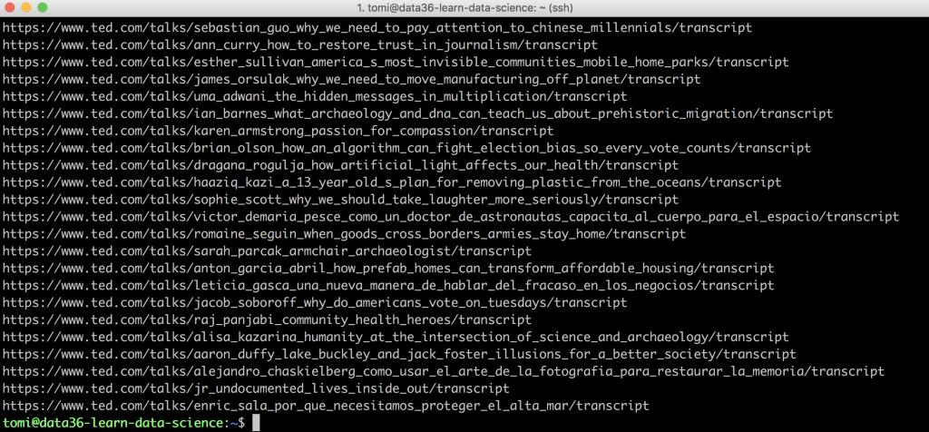 3000 ted talk URLs scraped