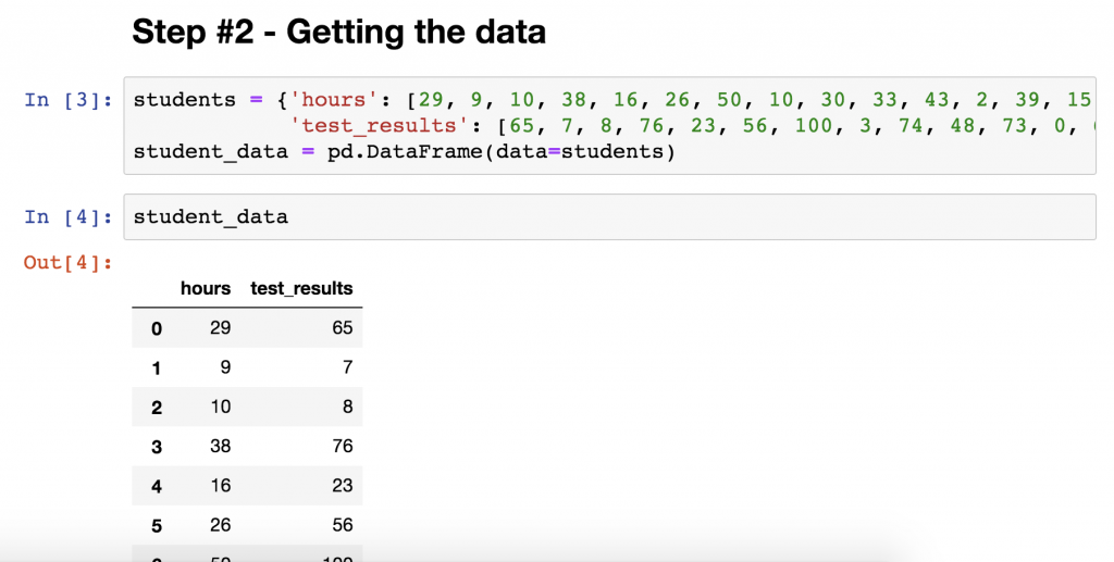getting the data for linear regression in python