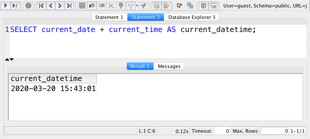 sql current date plus current time alias