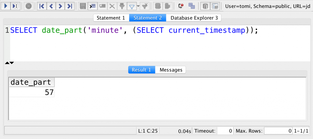 sql current minute with date_part