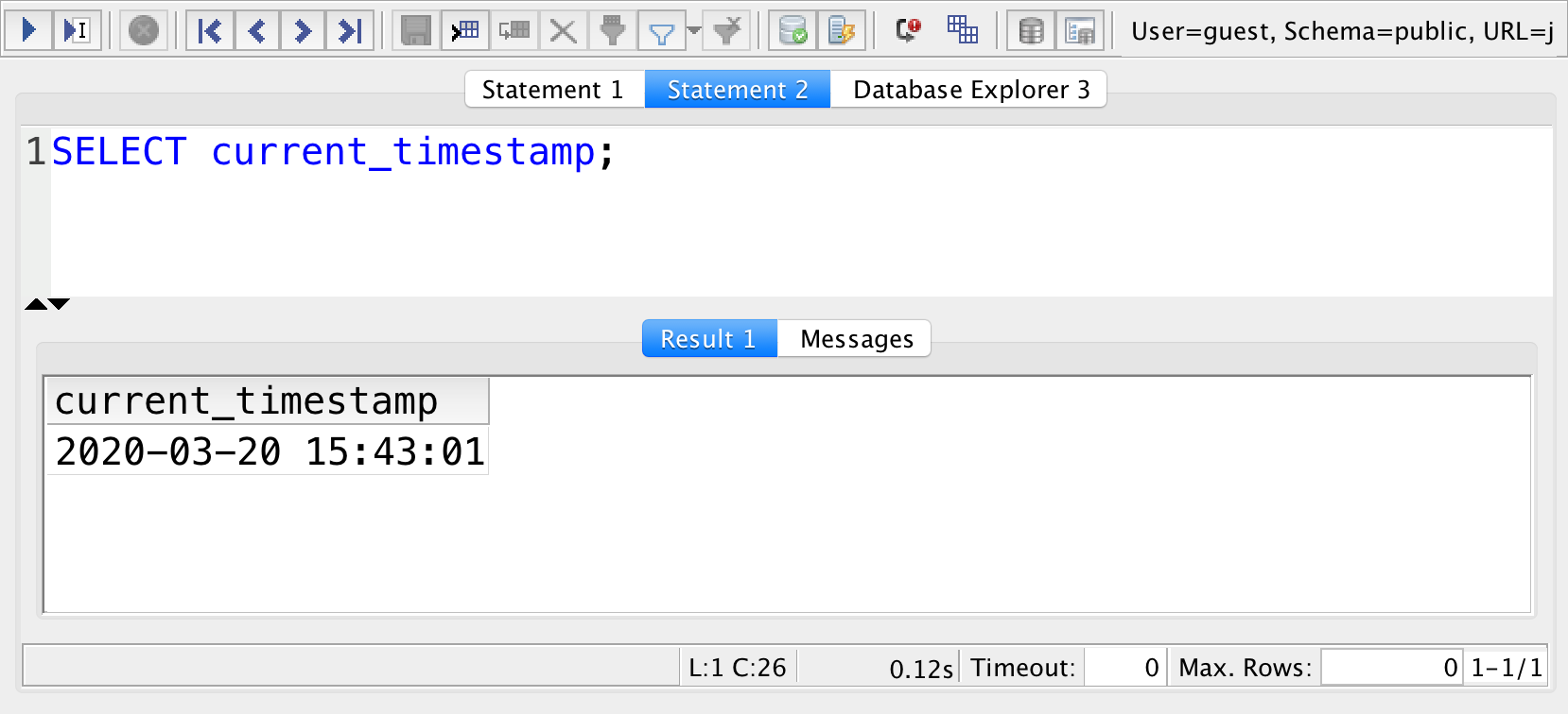 sql current timestamp