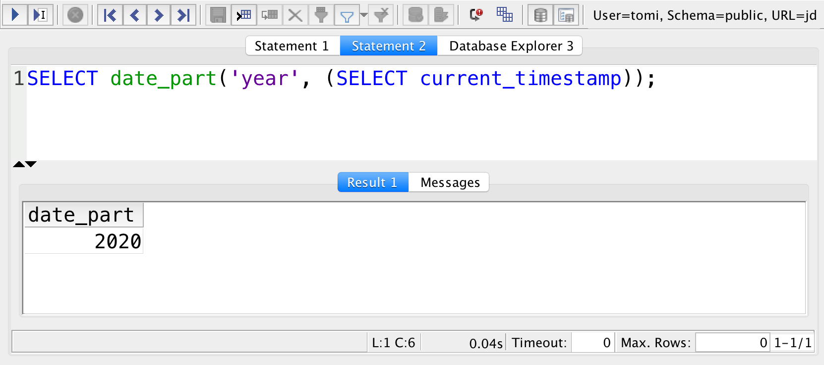 sql current year with date_part