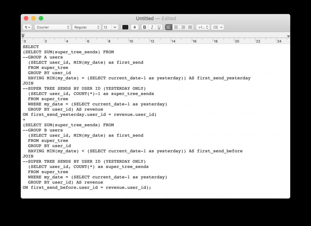 sql script in textedit