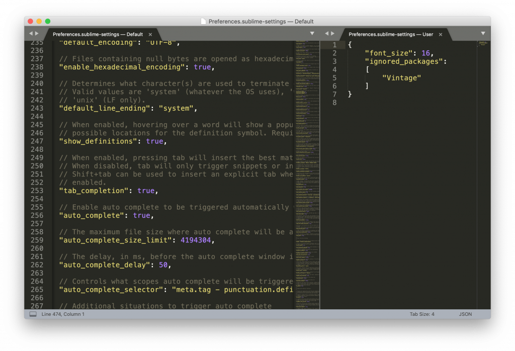 sublime customization via json