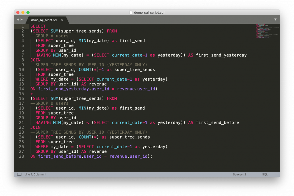 sql script in sublime text 3
