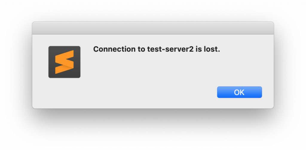 sublime remote server error connection is lost