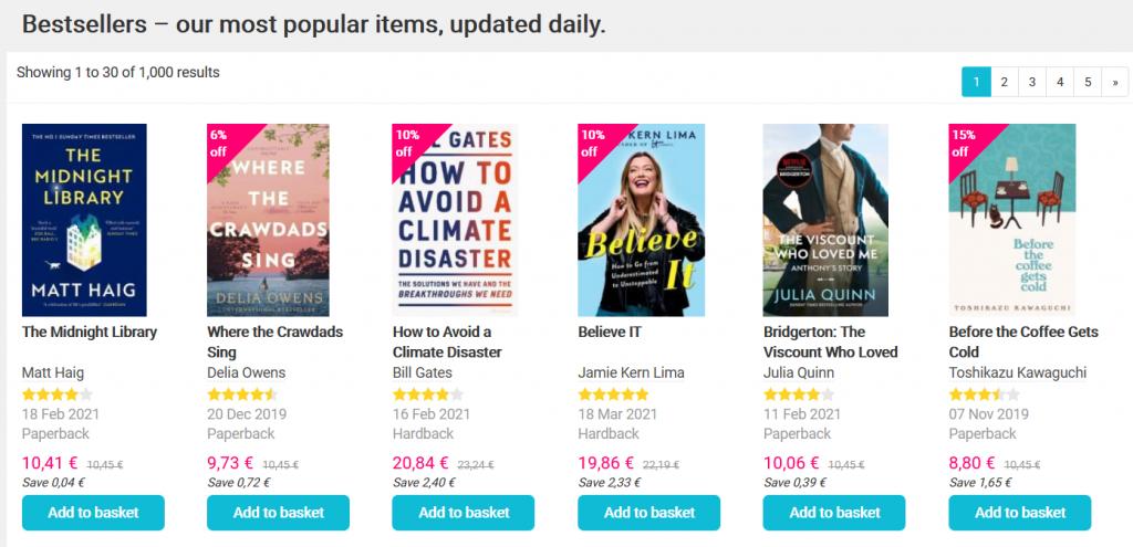 book depository bestsellers webpage