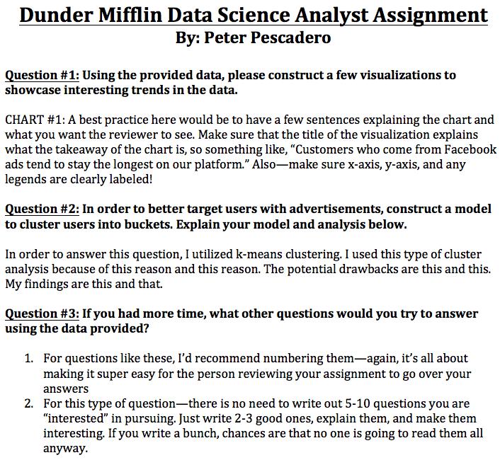 data scientist assignement example