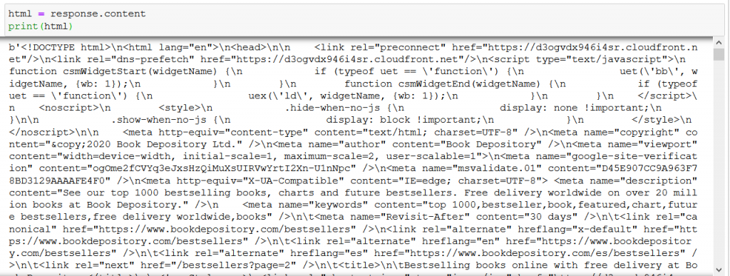 web scraping html content requests response