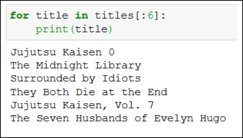for loop book titles python scraping