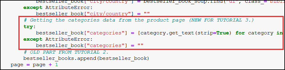 category web scraping website