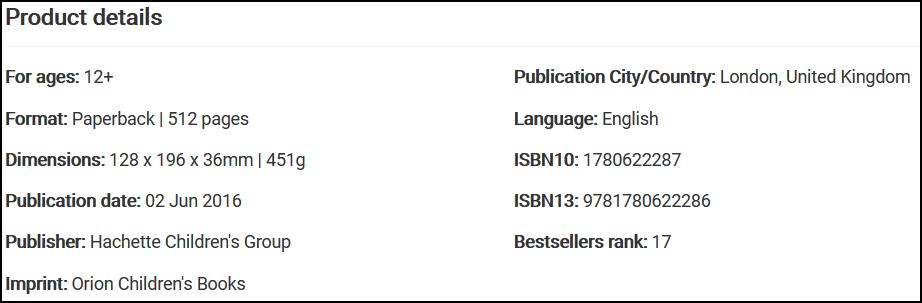 product page metadata