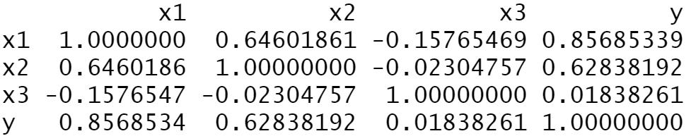 correlation matrix R language statistics