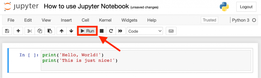 how to run cell in jupyter notebook