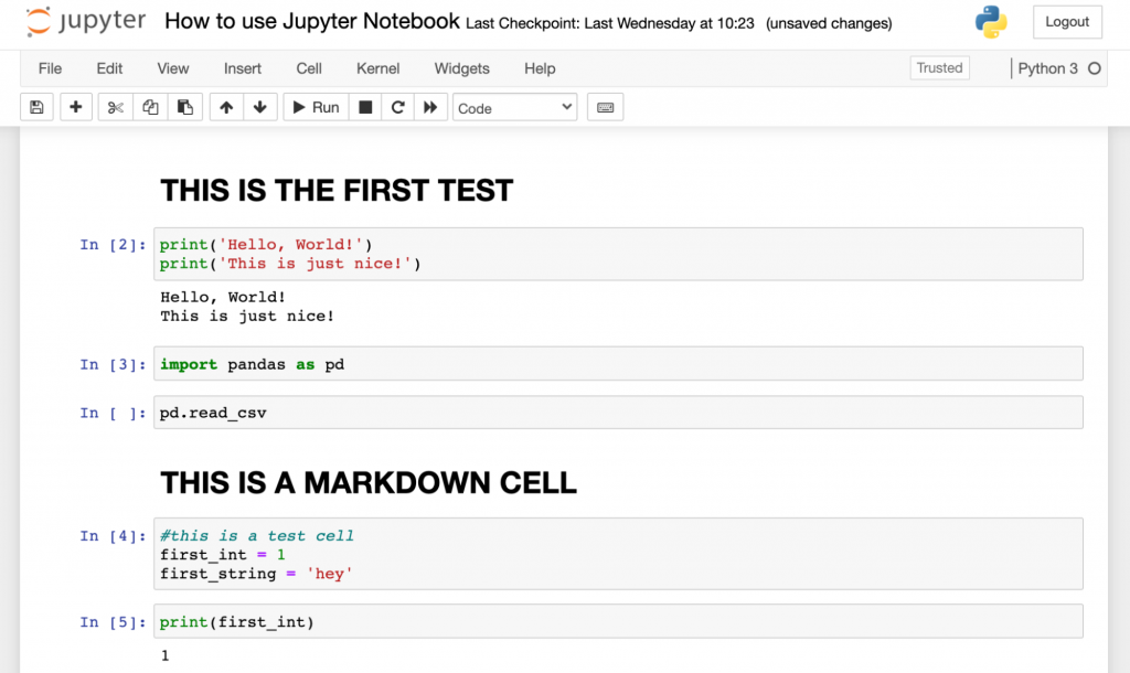 jupyter notebook example nice commenting markdown