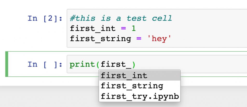 jupyter python notebook autocomplete tab