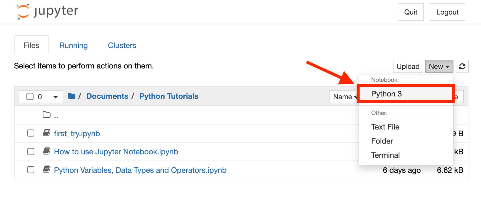 open new python jupyter notebook