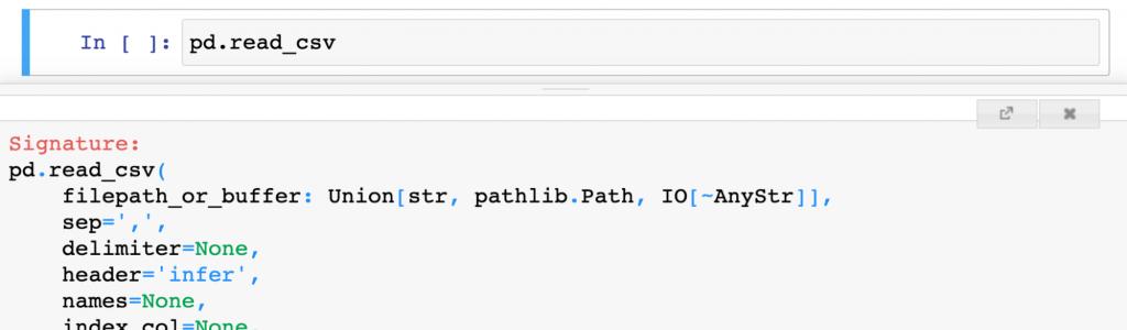 pandas example inline documentation shift tab