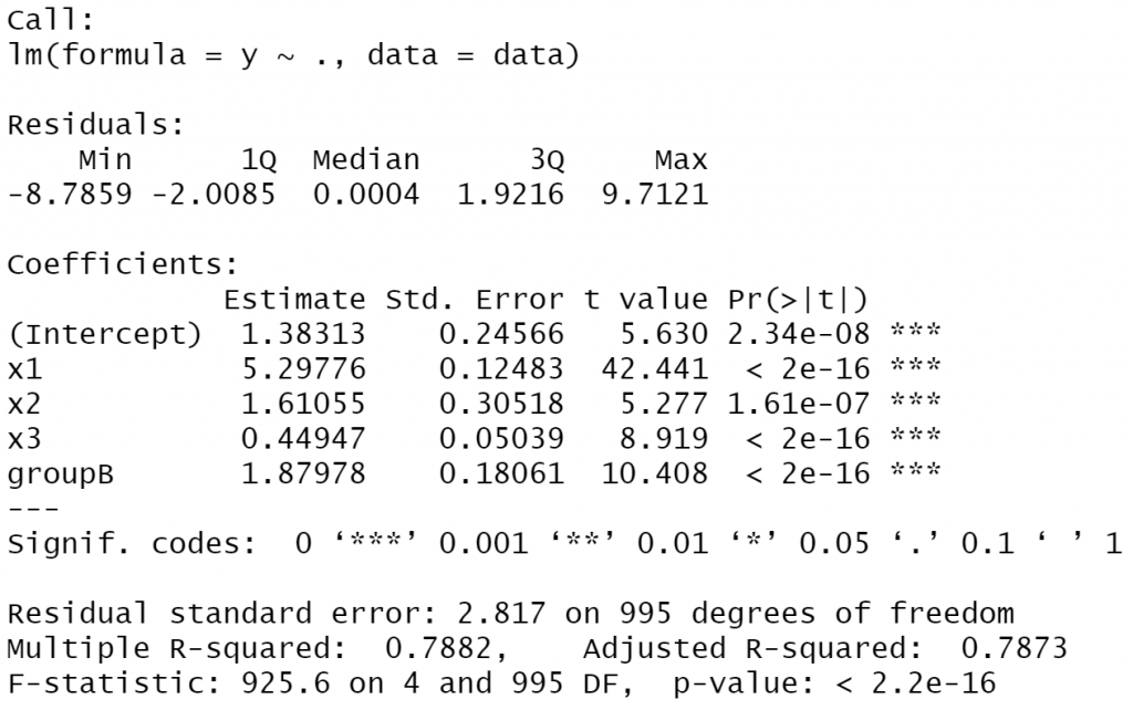 r programming statistics lm function