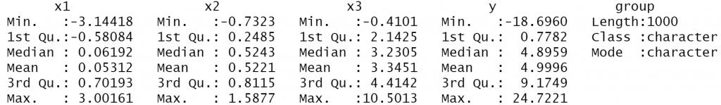 summary statistics dataframe r language